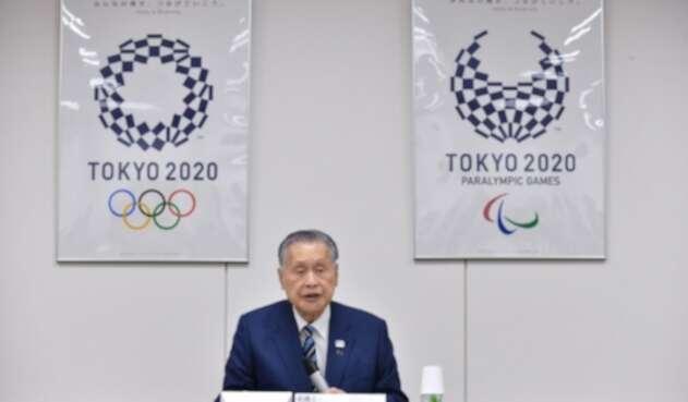 Yoshiro Mori en el anuncio de los precios de la boletería para Tokio 2020