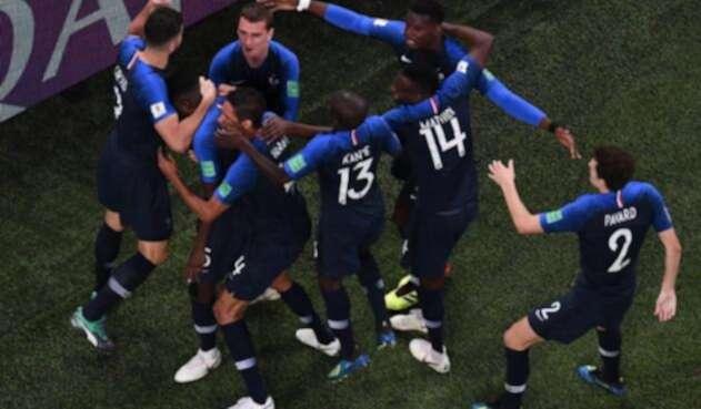 Francia celebrando el gol ante Bélgica que los clasificó a la final de Rusia-2018.