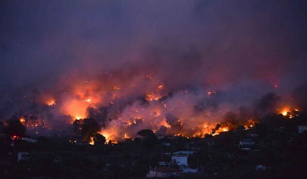 Llamas del voraz incendio en Grecia