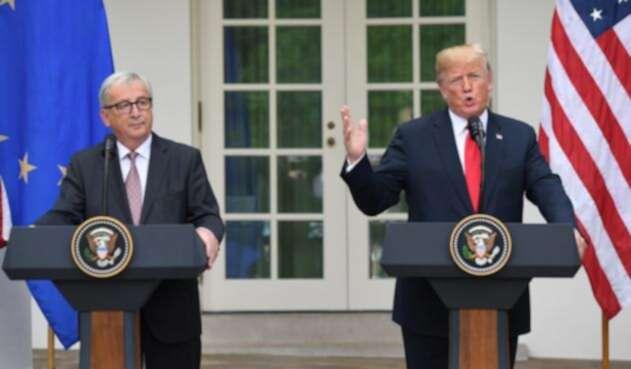 El presidente de Estados Unidos Donald Trump y el de la Comisión Europea Jean Claude Juncker.