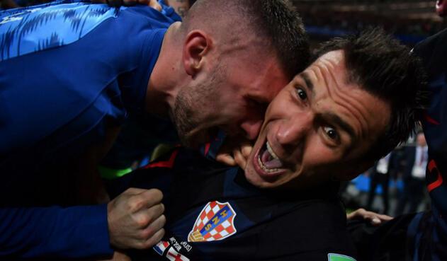 Celebración del gol de Croacia