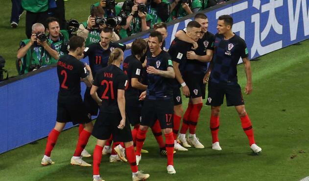 Croacia celebra el gol del empate parcial frente a Inglaterra