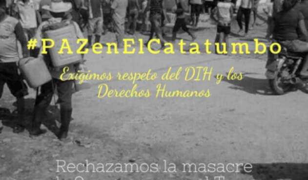 Foto publicada por @CiscaCatatumbo luego de la masacre de nueve personas en El Tarra (Norte de Santander)