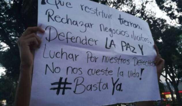 Jóvenes protestan por asesinato de líderes sociales en Norte de Santander