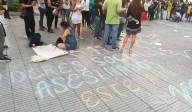 Protesta de líderes sociales ante asesinato de estas personas en el Catatumbo