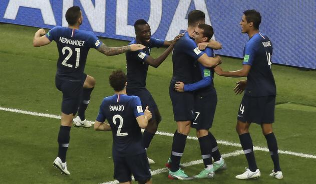 Francia celebrando el segundo gol del partido