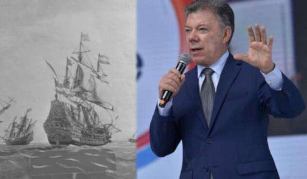 Imagen de archivo del Galeón San José y el presidente Juan Manuel Santos