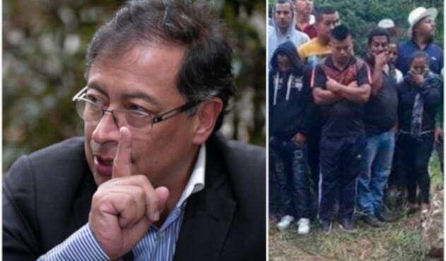 Gustavo Petro, ex candidato presidencial, y parte de la imagen publicada por él en su cuenta en Twitter sobre la masacre en Argelia