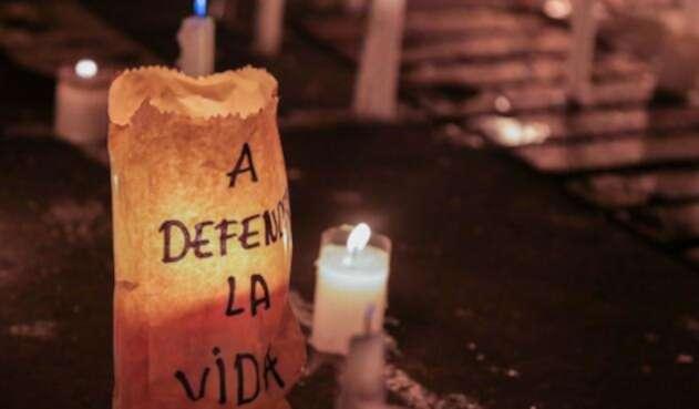 Homenaje a líderes sociales en Bogotá