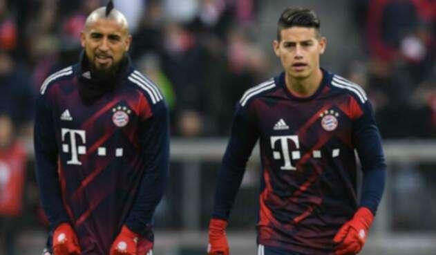 Arturo Vidal y James Rodríguez en el Bayern Múnich