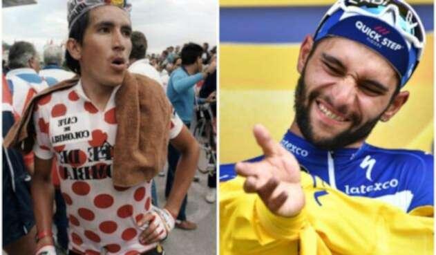 Los ciclistas Lucho Herrera y Fernando Gaviria, ganadores de etapa en el Tour de Francia