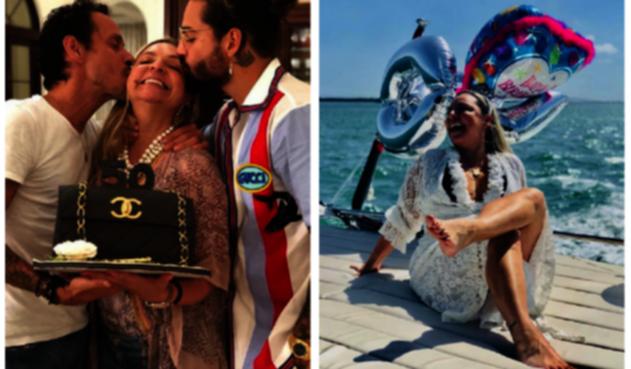 Maluma y su mamá junto a Marc Anthony