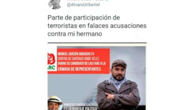 El mensaje que publicó en Twitter el expresidente Álvaro Uribe sobre Manuel Garzón