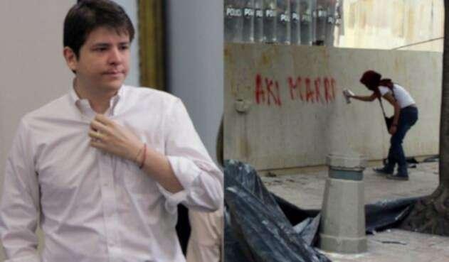 Miguel Uribe calificó de vandalismo los grafistis
