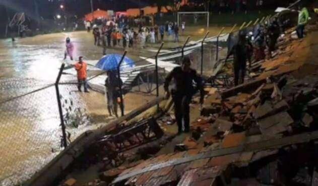 Colapso de un muro en San Gil