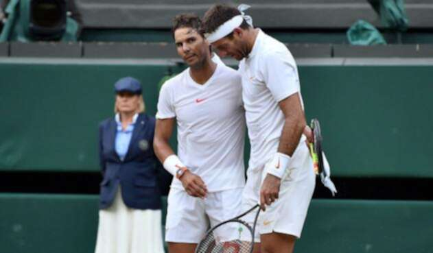 Rafael Nadal y Juan Martín Del Potro en los cuartos de final de Wimbledon