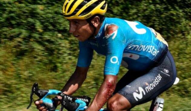 Nairo Quintana luego de la caída en la etapa 18 del Tour de Francia