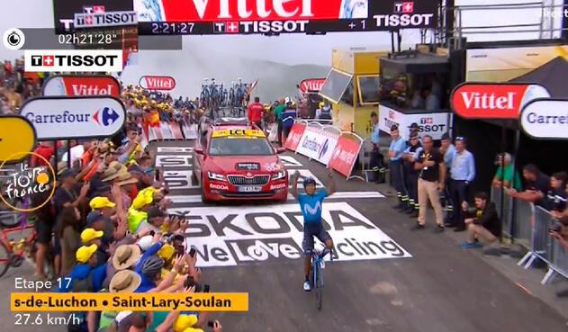 Nairo Quintana, luego de ganar la etapa 17 del Tour de Francia