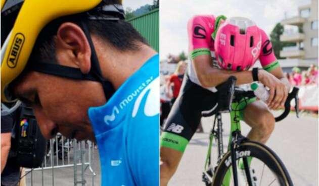 Nairo Quintana y Rigoberto Urán, ciclistas colombianos, en el Tour de Francia 2018