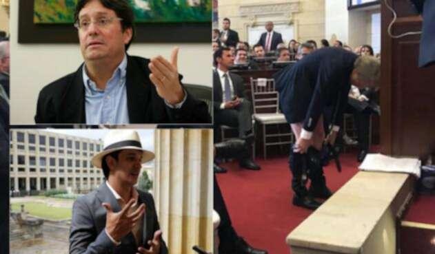 Pachos Santos (Izq arriba), Víctor Correa (Izq abajo) y Mockus bajándose los pantalones en el Senado (Der)