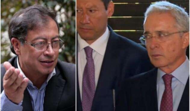 Gustavo Petro, a la izquierda en Bogotá. A la derecha, el abogado Jaime Lombana y el expresidente Álvaro Uribe en la finca de este último en Rionegro (Antioquia)