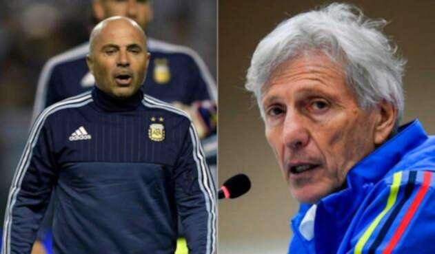 Jorge Sampaoli, técnico de Argentina y José Pékerman, entrenador de Colombia