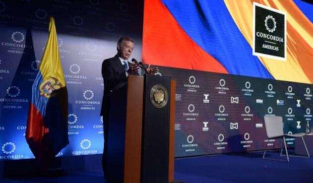 El presidente Juan Manuel Santos en la cumbre de la organización Concordia, en Bogotá