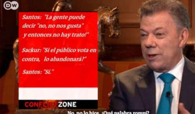 El presidente Juan Manuel Santos en la entrevista con Deutsche Welle (DW) de Alemania