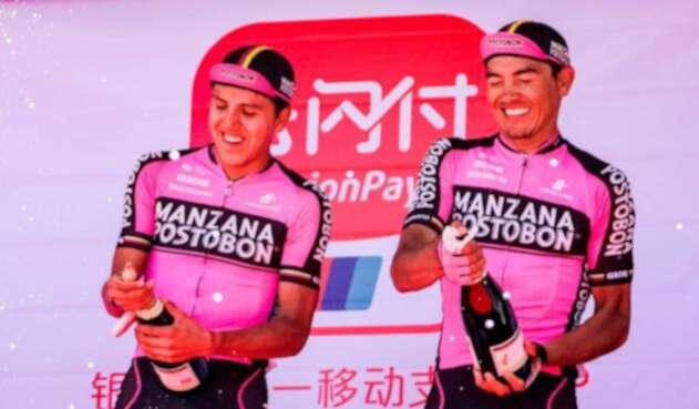 Manzana Postobón, líder del Tour de Qinghai Lake en China con Hernán Aguirre