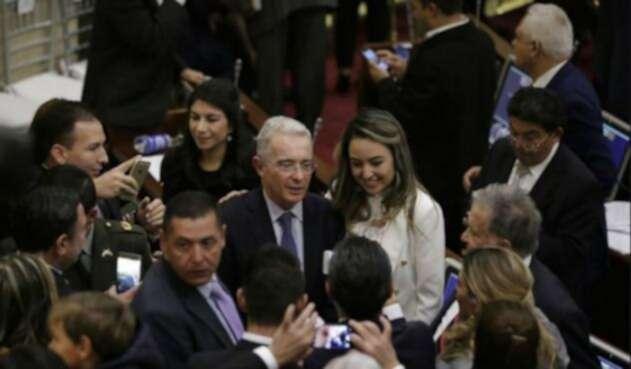 El senador Álvaro Uribe en el Congreso de la República.