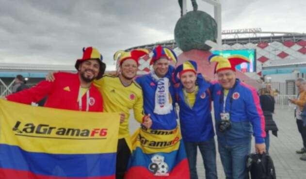 Hinchas de la Selección Colombia en el Spartak Stadium
