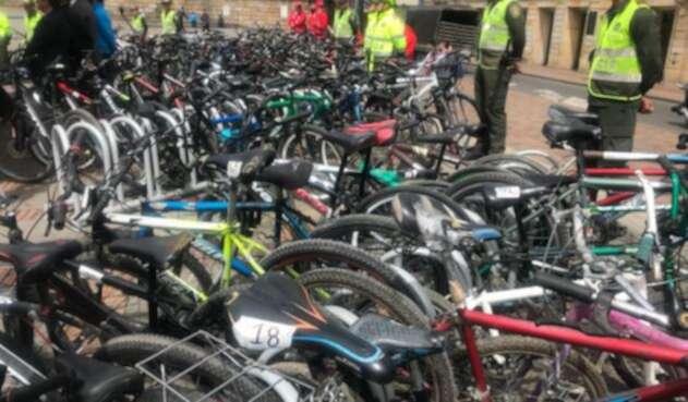 Biciletas recuperadas en Bogotá, que habían sido robadas.