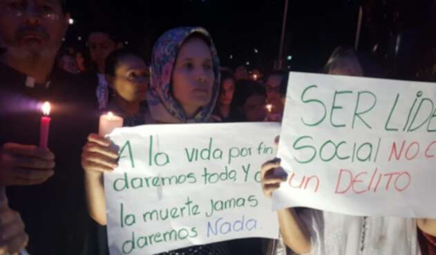 Protestas contra asesinatos de líderes sociales