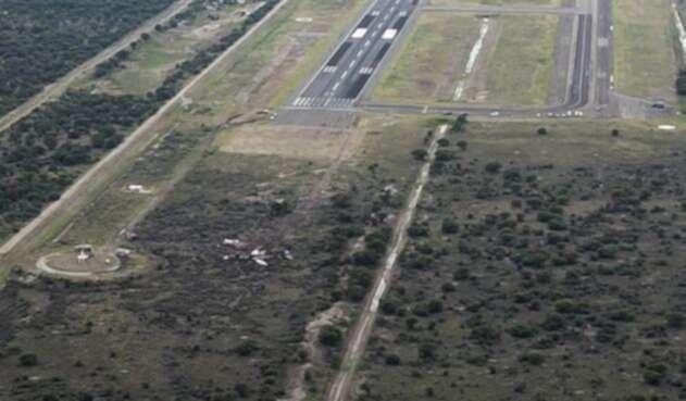 Zona del accidente de avión en Durango, México