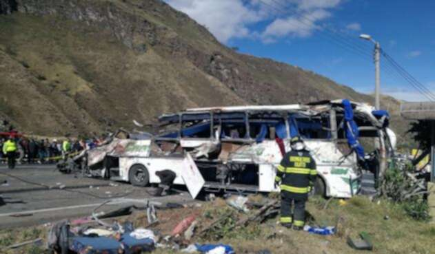 La zona del accidente de bus en Ecuador