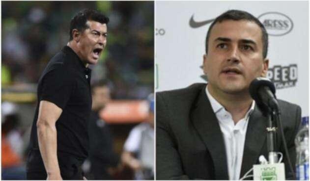 Jorge Almirón y Juan David Pérez, presidente de Atlético Nacional
