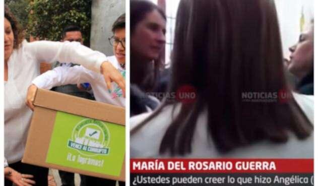 Angélica Lozano y Claudia López, promotoras de la consulta anticorrupción. A la derecha, las imágenes del video filtrado