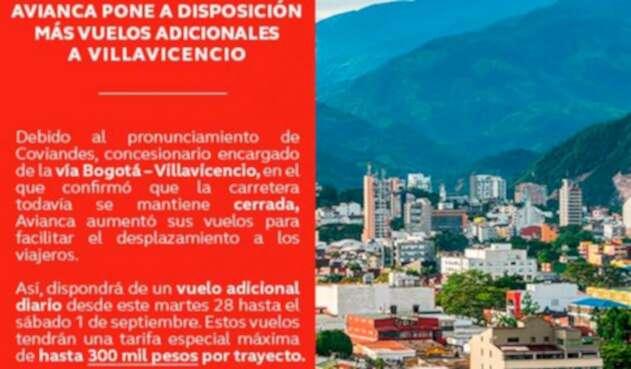 La publicación de Avianca en Twitter anunciando más vuelos a Villavicencio