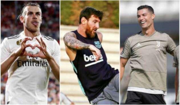 Gareth Bale, Lionel Messi y Critiano Ronaldo