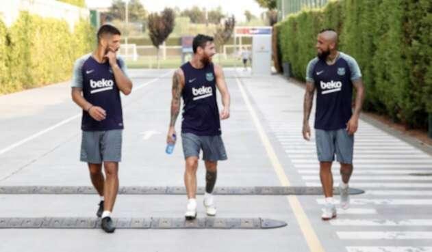 Luis Suárez, Lionel Messi y Arturo Vidal