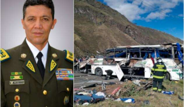 El general de Distrito Carlos Enrique Alulema, director nacional antinarcóticos de Ecuador. Y el bus accidentado en Quito
