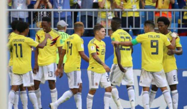 La Selección Colombia celebrando un gol ante Senegal en Rusia 2018