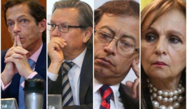 Los magistrados del CNE Felipe García y Armando Novoa y los congresistas Gustavo Petro y Ángela Robledo