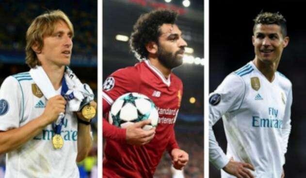 Luka Modric, Cristiano Ronaldo y Mohamed Salah.