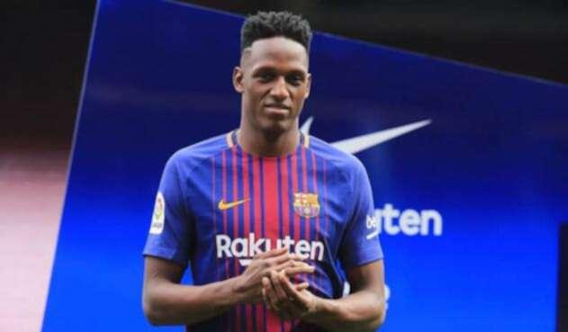 Yerry Mina cuando fue presentado como jugador del FC Barcelona