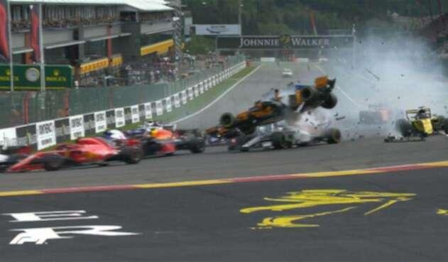 Escena del accidente en el Gran Premio de Bélgica
