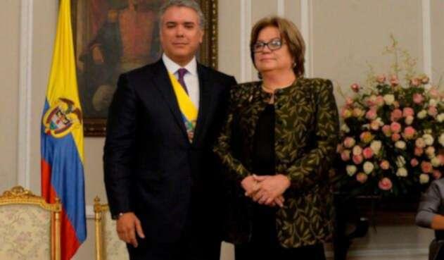 Iván Duque, presidente de la República, junto a Gloria María Borrero, ministra de Justicia
