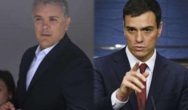 El presidente Iván Duque y Pedro Sánchez, jefe del gobierno español