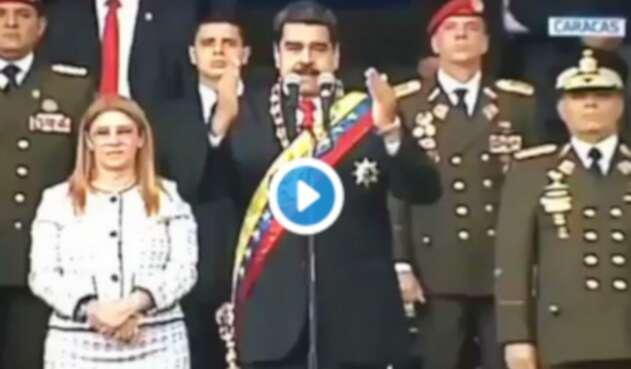 Nicolás Maduro, presidente de Venezuela, cuando sonó la explosión