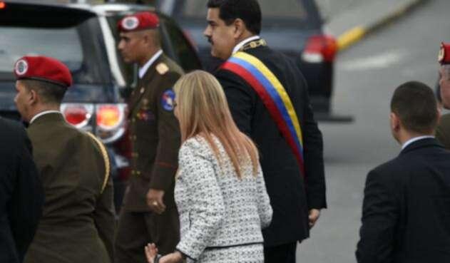 Nicolás Maduro, presidente de Venezuela, en Caracas, luego de que estallara un artefacto en el marco de su discurso